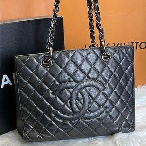 💜BEAUTIFUL RARE 💜 Dark Gray Chanel GST TOTE